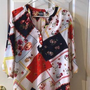 New York & Co. Floral 3/4 sleeve Soho blouse